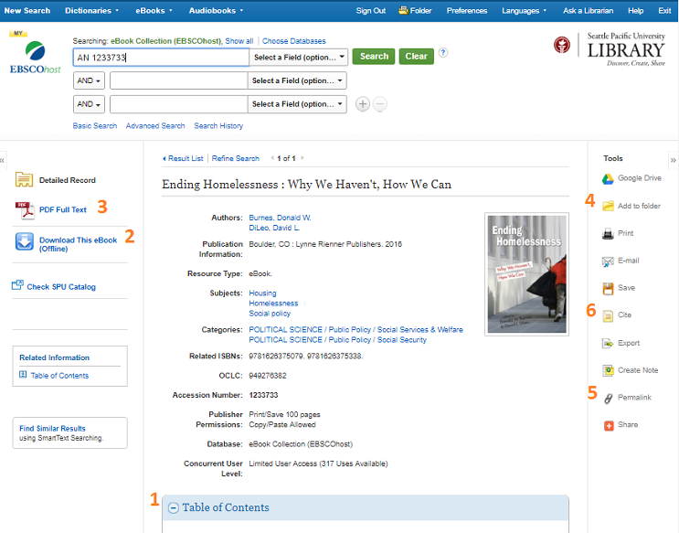 EBSCO ebook main page