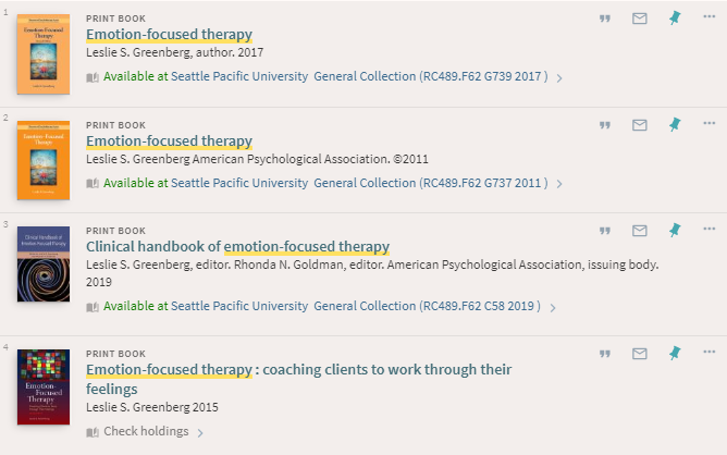 View of search results in SPU Primo