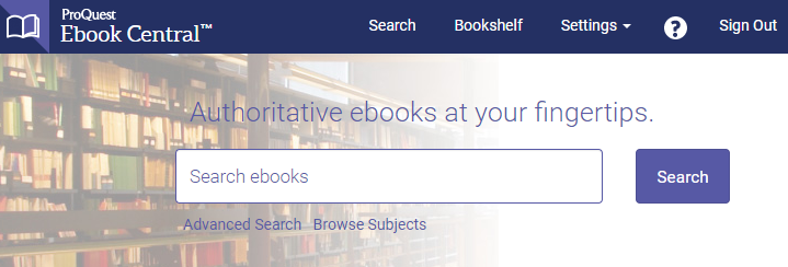 Search within ProQuest Ebook Central