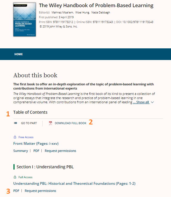 "Wiley eBook main page for title ""Wiley Handbook of Problem-Based Learning"""