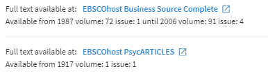 View It section of journal record showing access through either Business Source Complete or PsycARTICLES