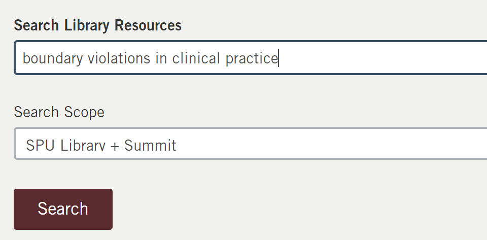 Search library resources box on library home page with example search of boundary violations in clinical practice