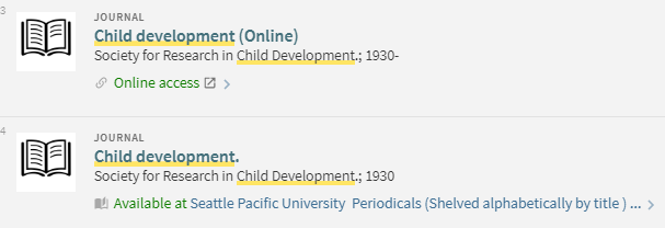 SPU Primo results for Child Development