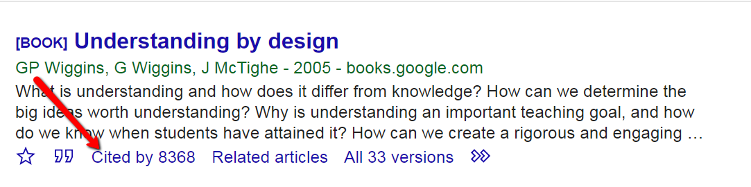 Google Scholar search result highlighting Cited by link