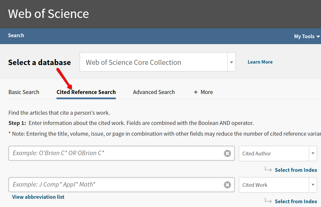 Web of Science homepage highlighting Cited Reference Search link