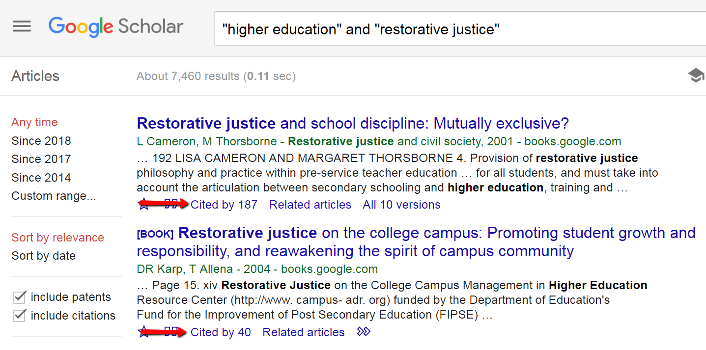 Google Scholar search results highlighting Cited by links under search results