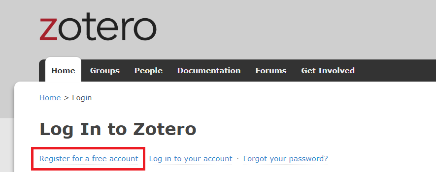 Screenshot of Zotero registration screen with Register for a free account text highlighted