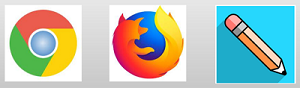 Icons, left to right; Google Chrome Browser, Mozilla Firefox Browser, Blackboard mobile App