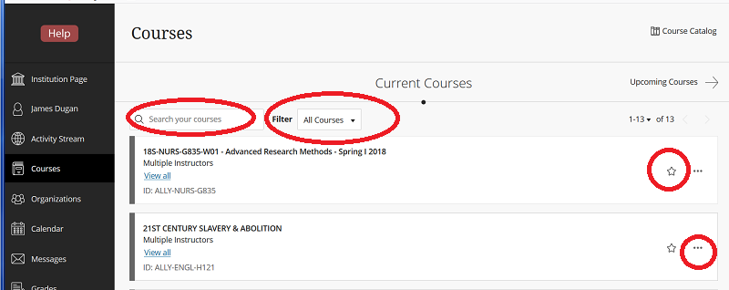 "Screen Shot of the Blackboard Courses Page, with red circles highlighting the box for searching courses by text, the filter selection, star icon, and 3-dot ""extras"" icon."