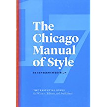 Image of cover and link to the electronic version of the Chicago Manual of Style