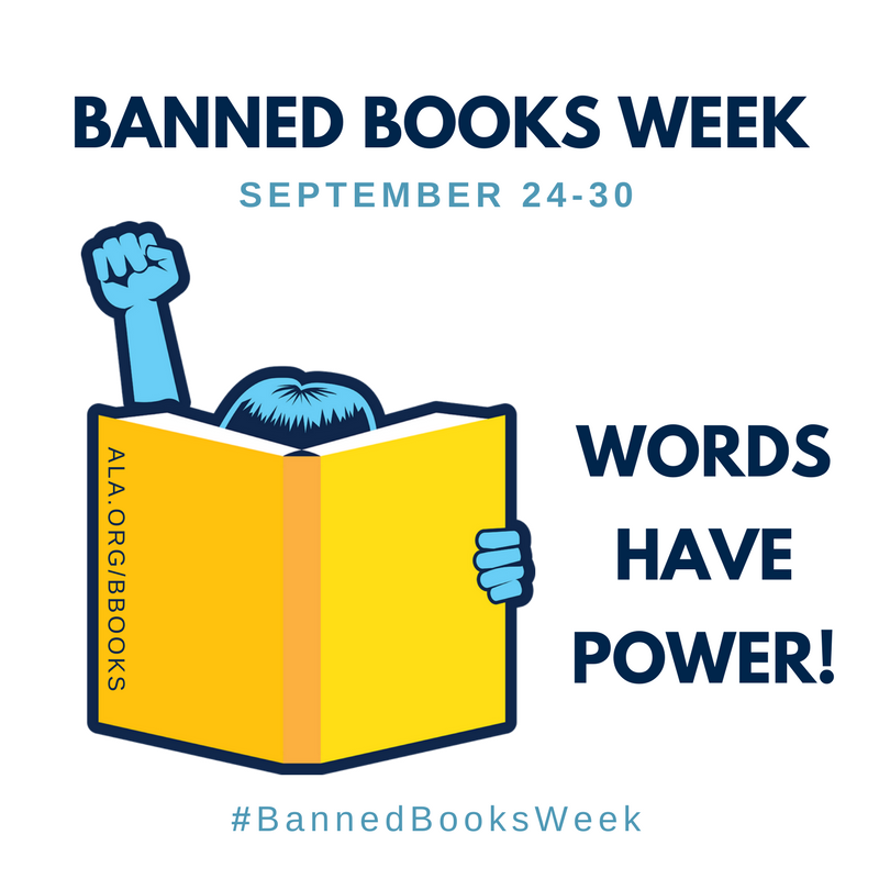 Banned Books Week, words have power, image of girl reading & fist raised
