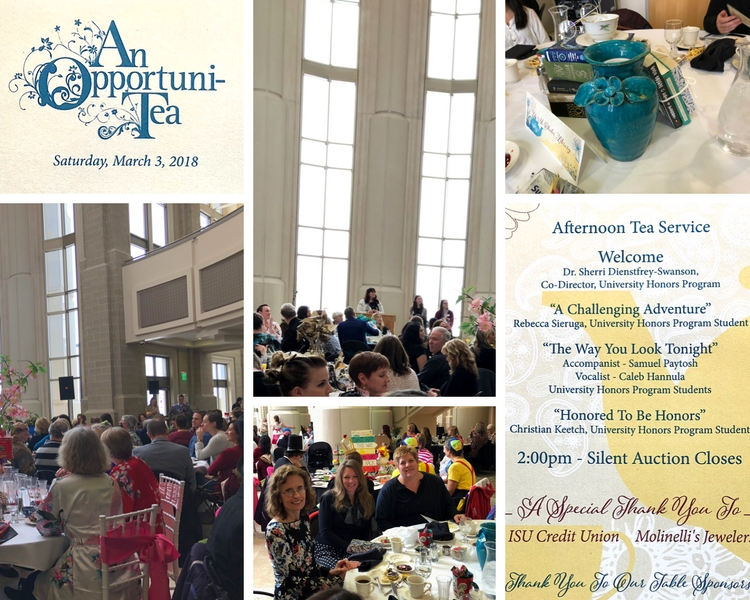 collage of photos of ISU fundraiser tea event at Stephens Performaning Arts Center atrium
