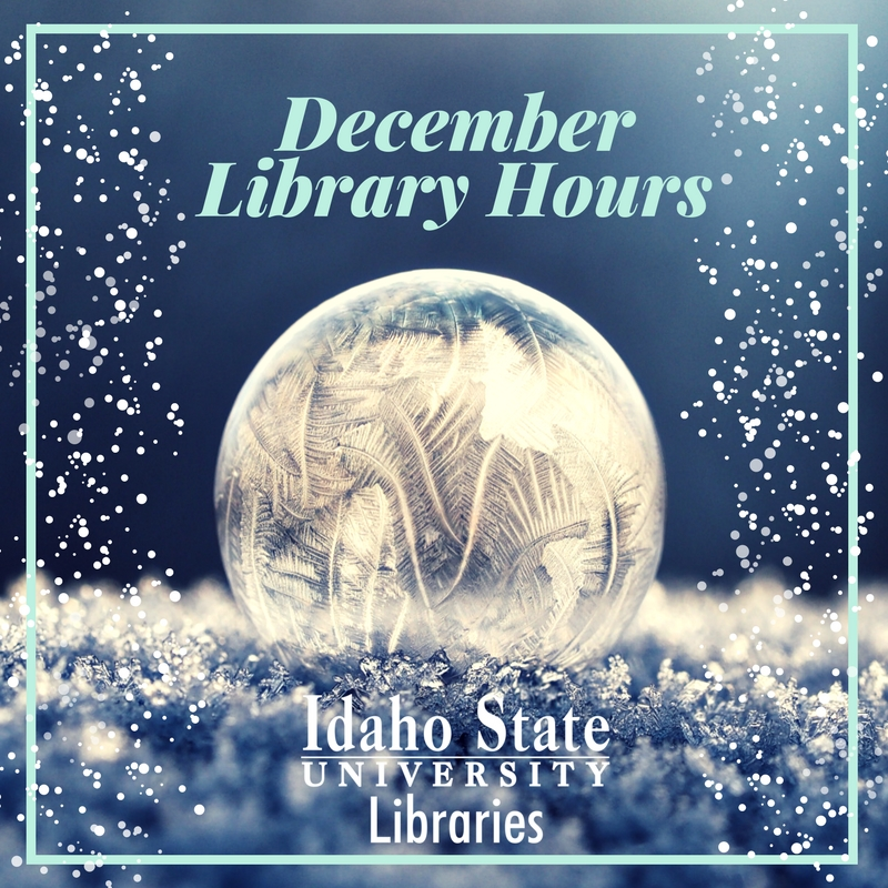 December Library Hours. Image of snow and snow globe.