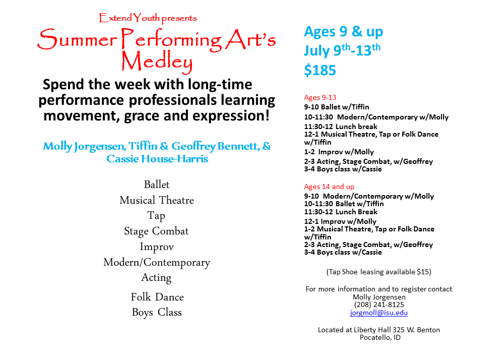 Image of 2018 summer schedule for summer performing art's medley for ages 9 and up from July 9 through 13
