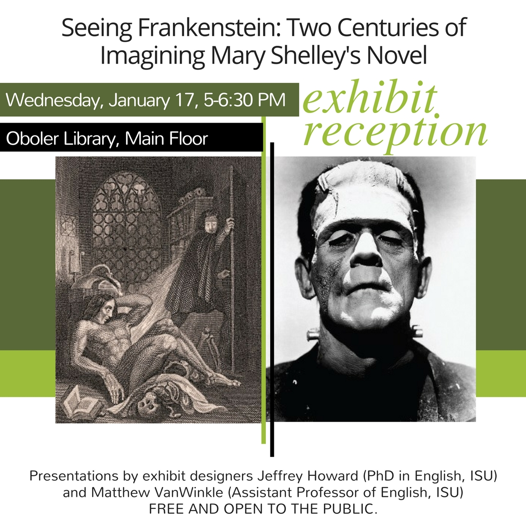 Event Post of Frankenstien exhibit reception of Jan 17, 2018, at 5:00 p.m.