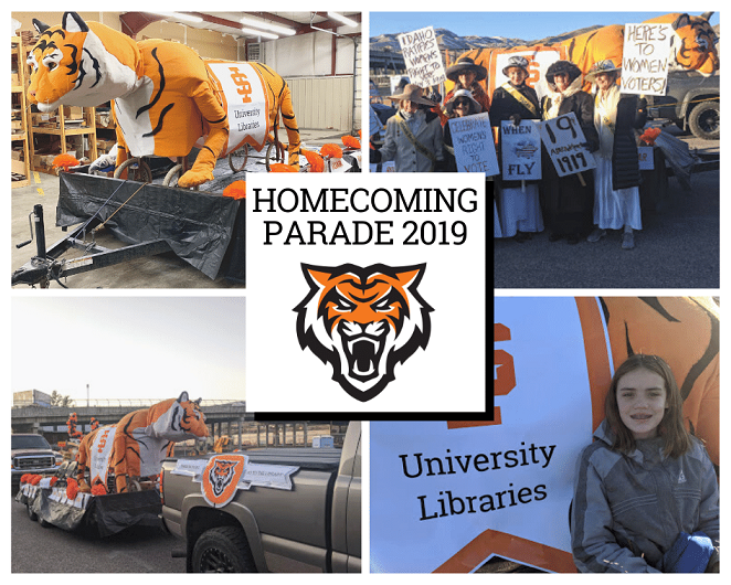 Homecoming parade 2019. Photos of Oboler Library's bengal tiger float.