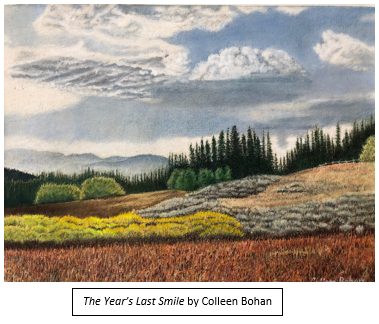 "Colored pencil artwork by Colleen Bohan titled, ""The Year's Last Smile."""