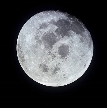 Photograph of the full moon.
