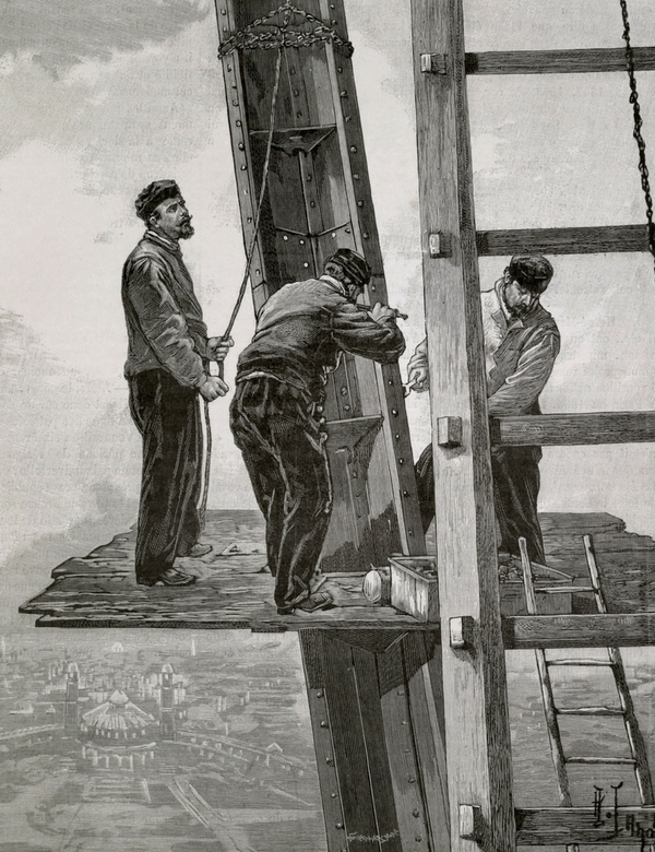 black and white illustration of construction workers building the Eiffel Tower