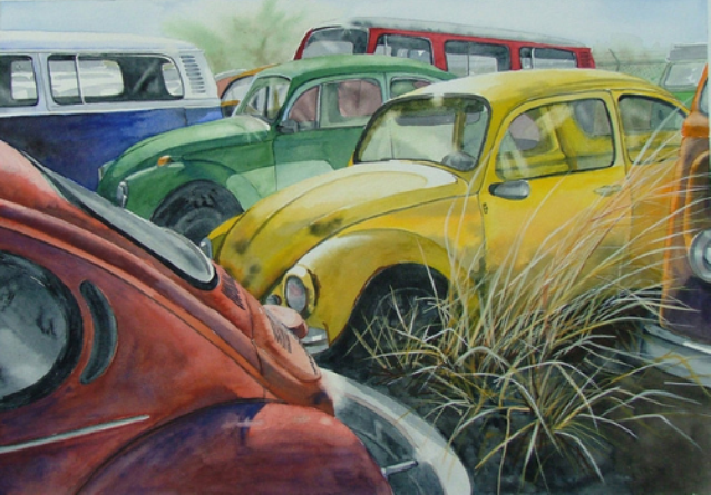 "Painting of volkswagon bugs and vans in a grassy field titled, ""Where did my youth go."""