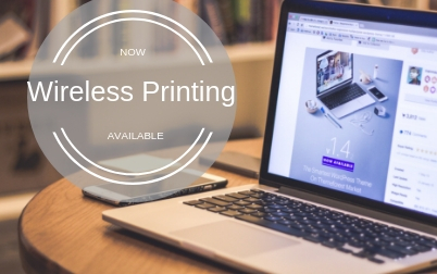 Wireless Printing now available. Image of laptop computer and cell phone.