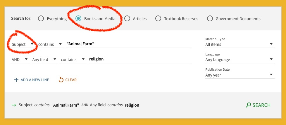 iamge of advanced search with subject circled books/media circled search terms animal farm in quotes and religion on another search line