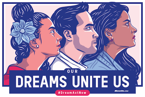 Our Dreams Unite Us, #DreamActNow - graphic image