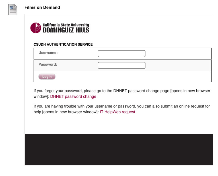 Films on demand embedded video login prompt from off campus