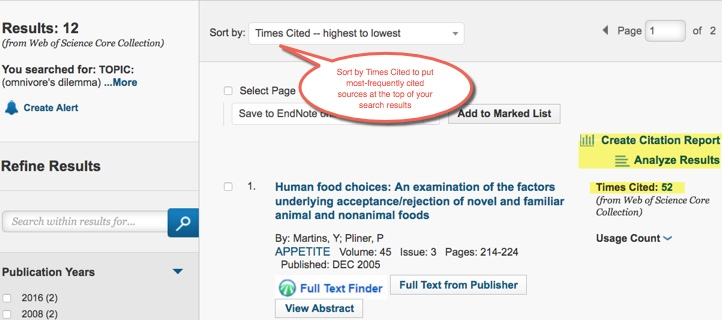 Sort by TImes Cited--Highest to Lowest to see the most frequently-cited articles in your search results.