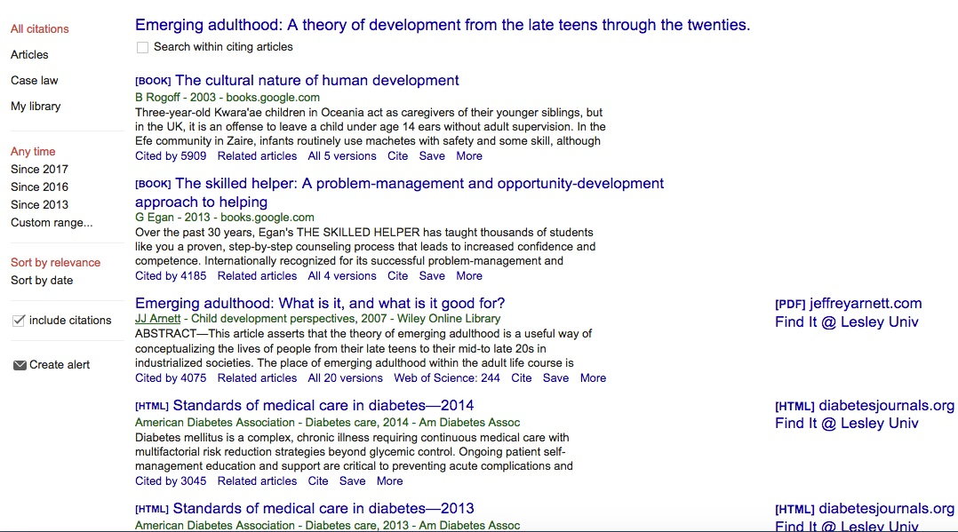 "List of articles that have cited Arnett's ""Emerging Adulthood"""