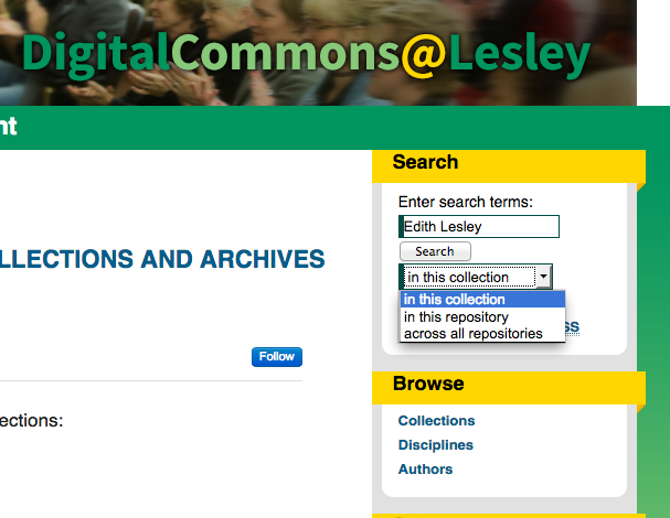 Screen shot of Search Box on DigitalCommons@Lesley