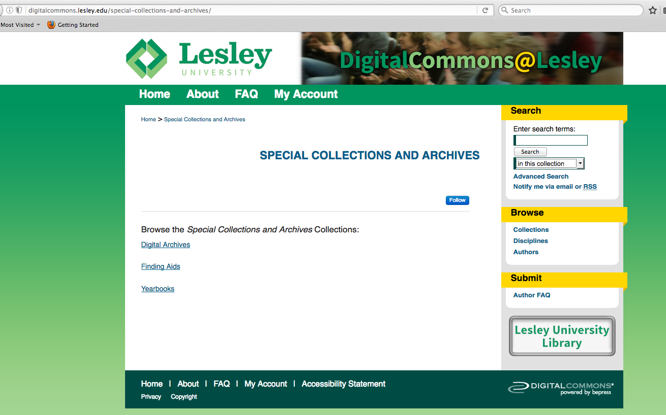 Screen shot of Special Collections and Archives on DigitalCommons@Lesley