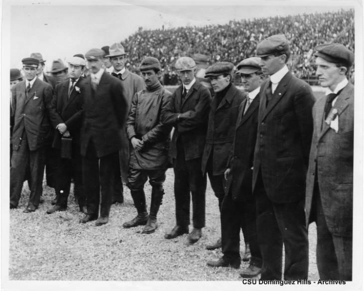 men standing in a row