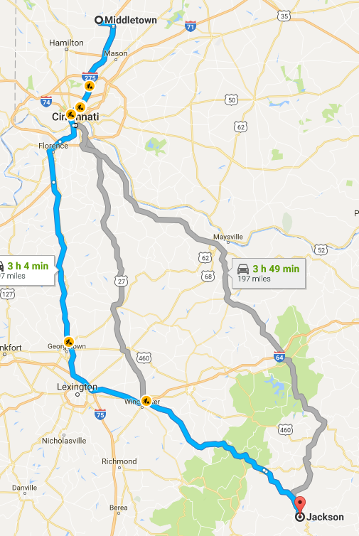 Travel Route from Jackson, Kentucky to Middletown, Ohio