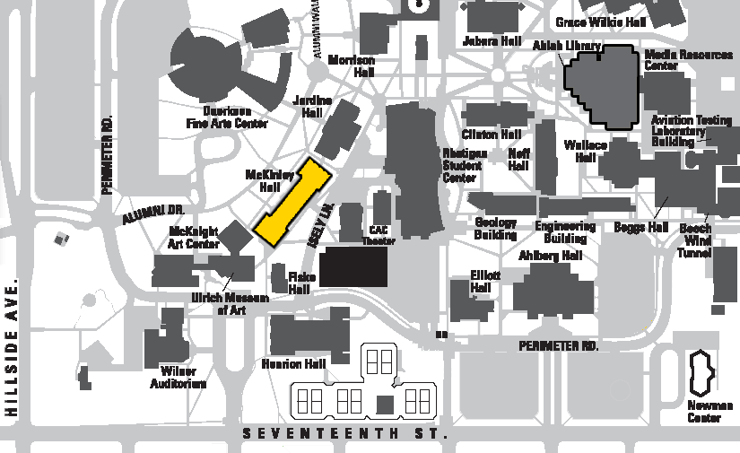 WSU Campus map highlighting the location of McKinley Hall.