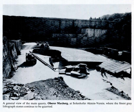A general view of the main quarry, Oberer Maxberg, at Solenhofer Aktein-Verein, where the finest gray lithograph stones continue to be quarried.