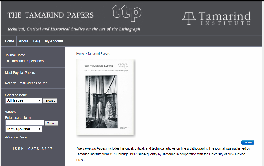 screen shot of The Tamarind Papers journal site