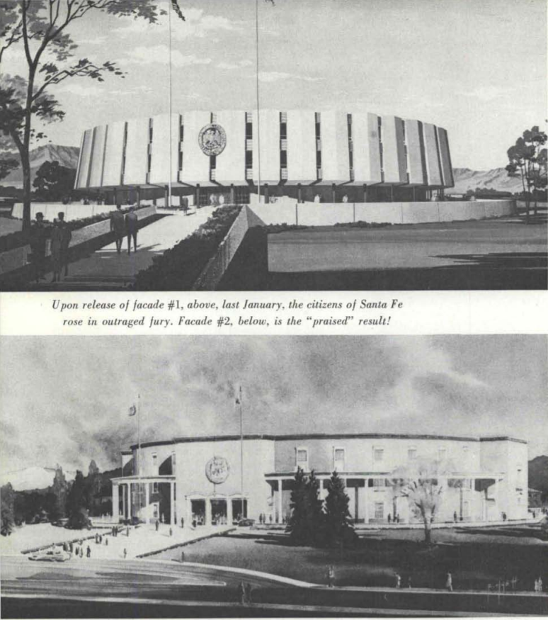 Architectural drawing of New Mexico Capitol; original (top) and redesign (bottom)