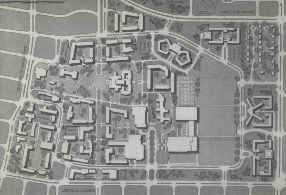 Architectural drawing of UNM campus in 1962