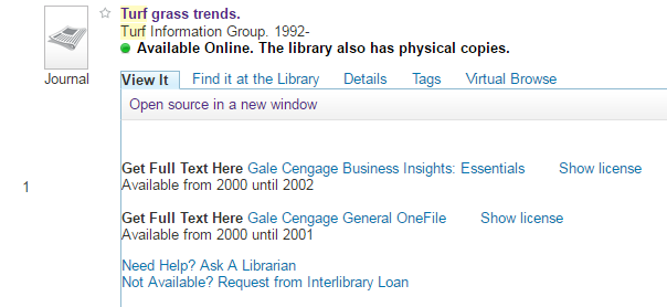 Search It View It tab with license terms option