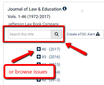 Search within a specific journal in Hein Online screenshot