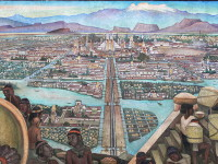 Image of a mural in Palacio Nacional in Mexico city by Diego Rivera depicting life in Aztec times