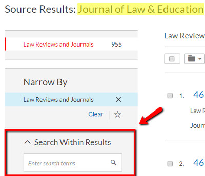 Nexis Uni: searching inside a specific publication screenshot