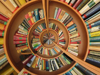 Image of a spiraling book shelf