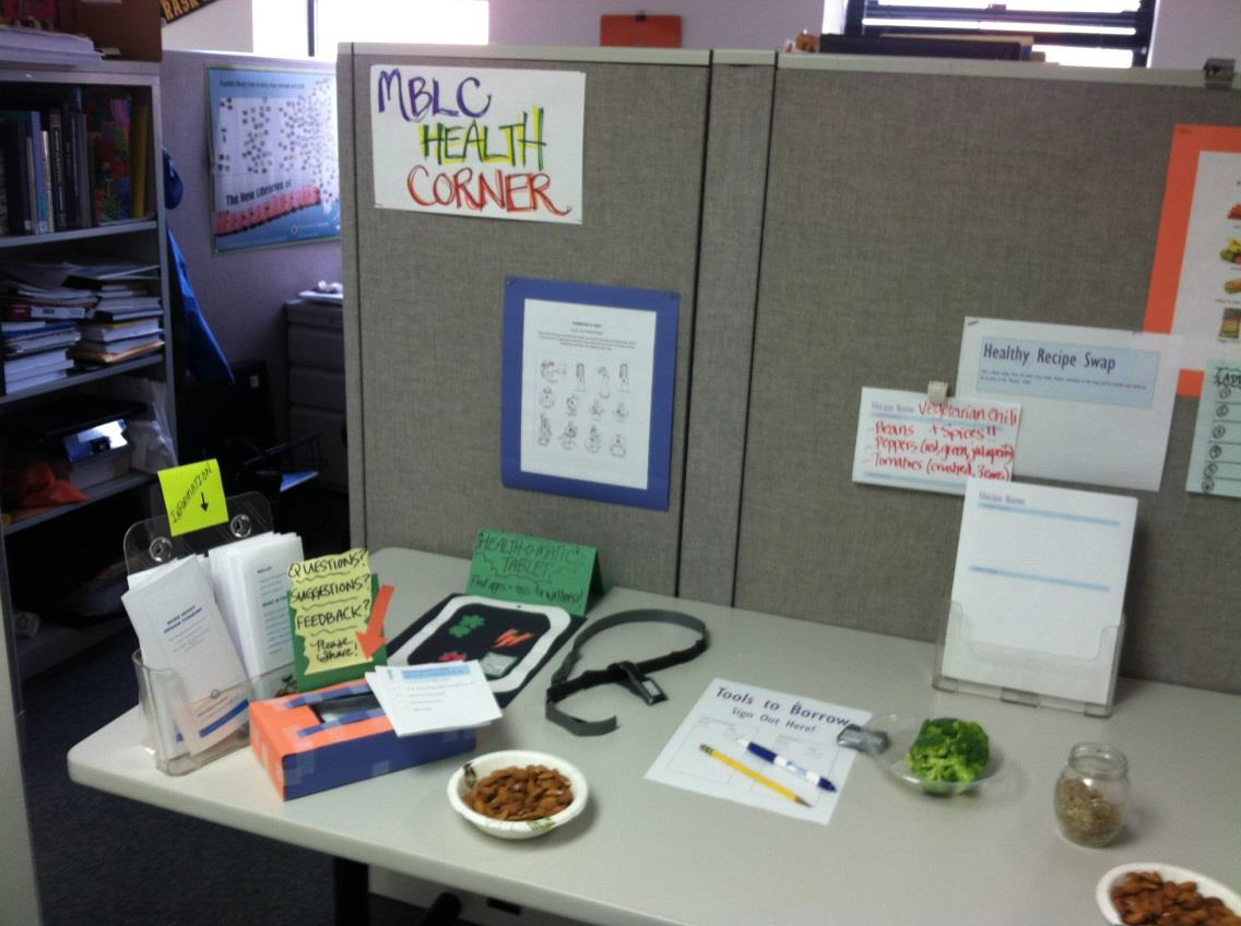 Health Corner table, left side