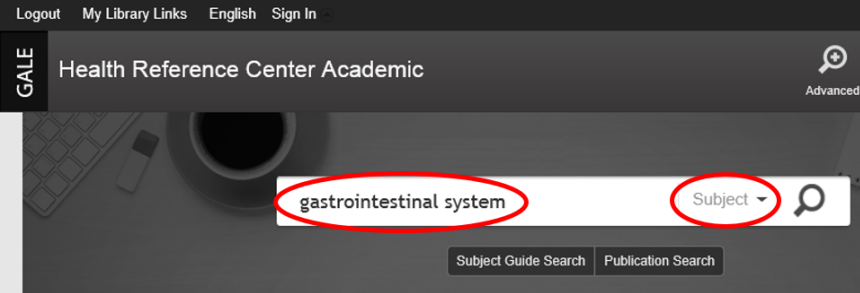 Sample Search for gastriontestinal system