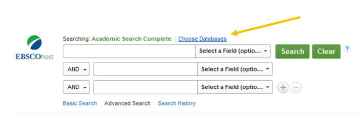 image of academic search complete search boxes pointing out choose databases link