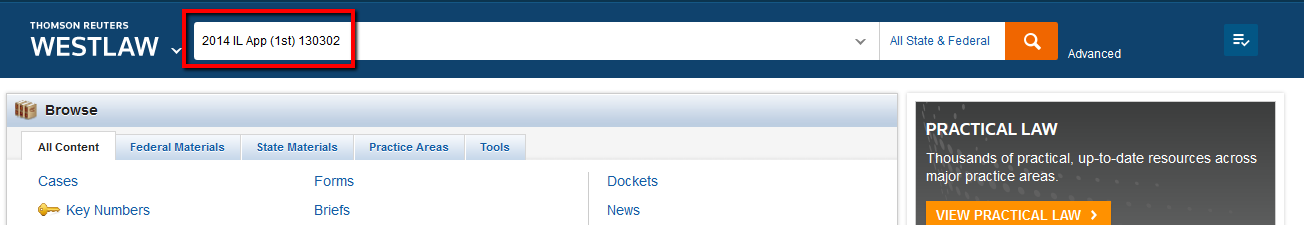 Westlaw citation search example screenshot