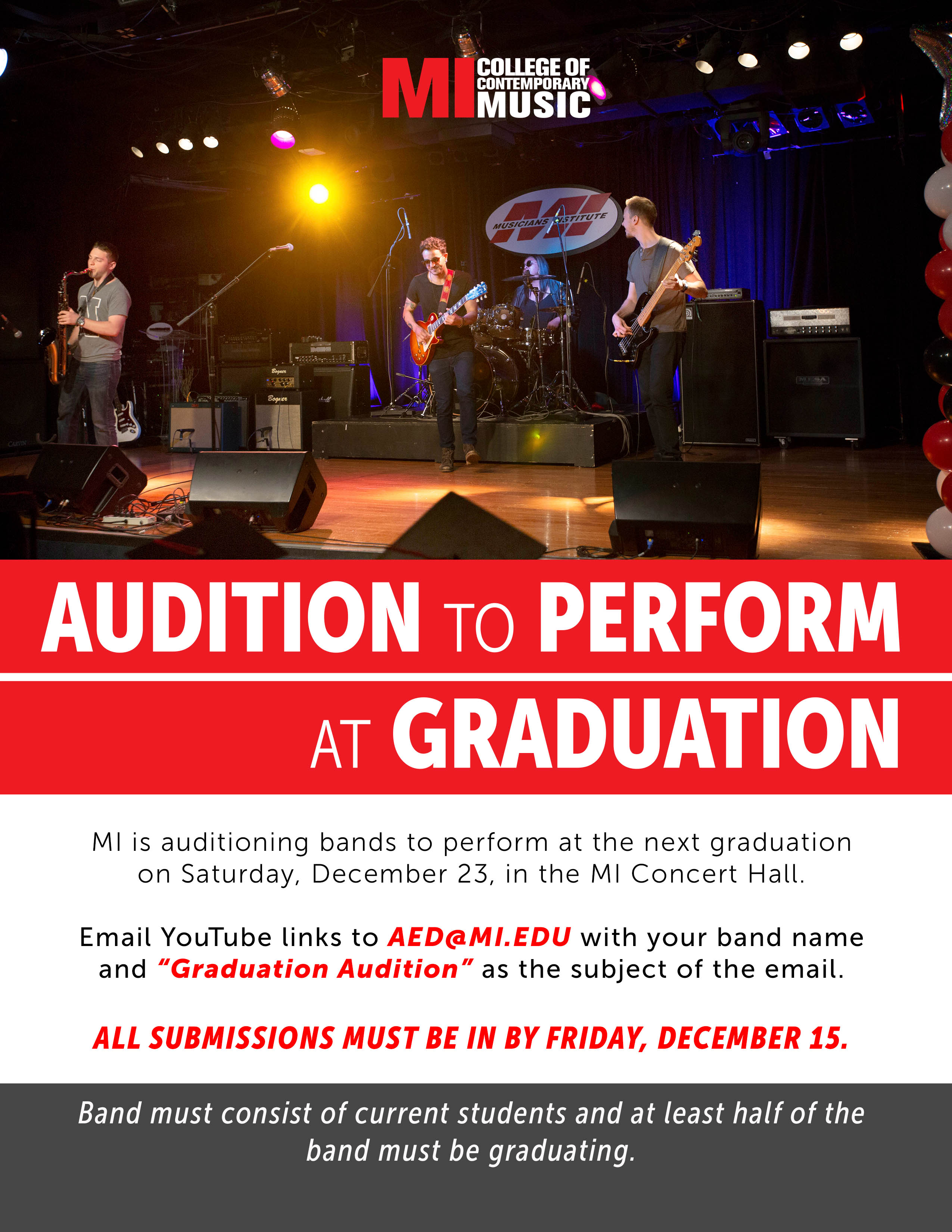 AUDITION TO PERFORM AT GRADUATIONWEDNESDAY, DECEMBER 6, 12PM – FRIDAY, DECEMBER 15, 2017, 11:55PM
