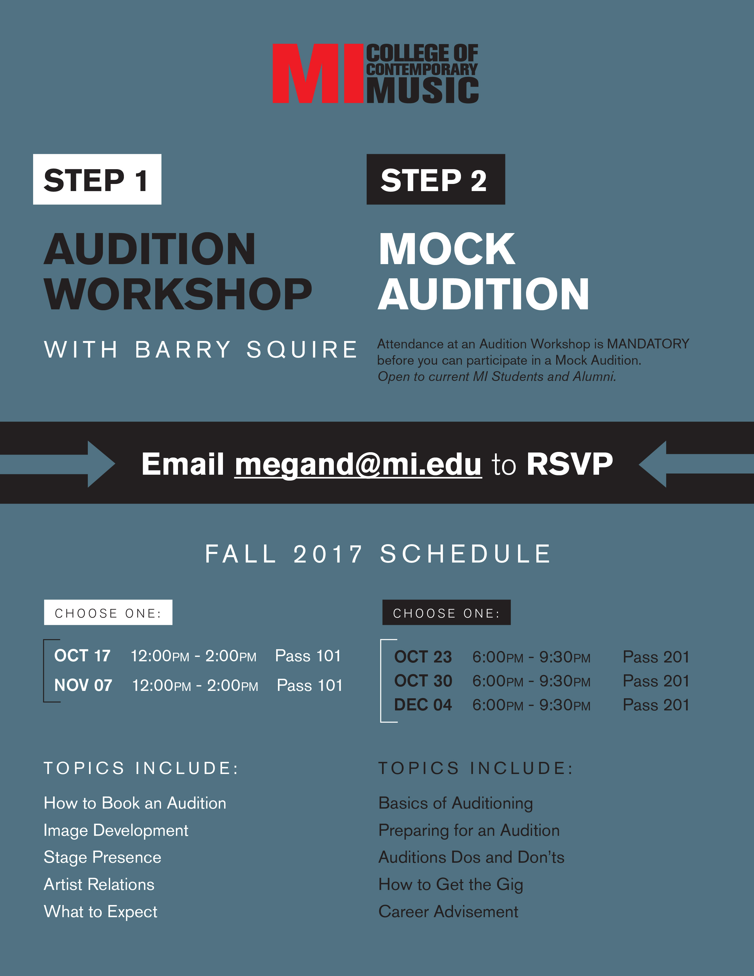 AUDITION WORKSHOP with Barry Squire TUESDAY, OCTOBER 17, 2017, 12 – 2PM